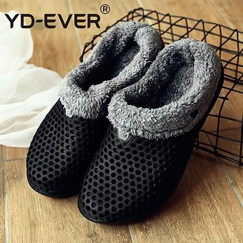 YD-EVER winter slippers couples lovers shoes warm fur outdoor shoes hole garden shoes