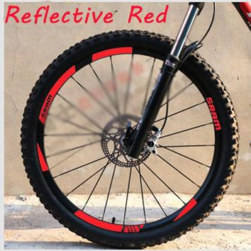 SRAM MTB Wheel set rim Stickers for Mountain bike replacement Reflective Fluo Race Cycling dirt vinyl rim decals free shipping