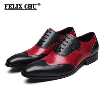 FELIX CHU Modern Gentlemen Formal Oxfords Genuine Leather Dress Shoes