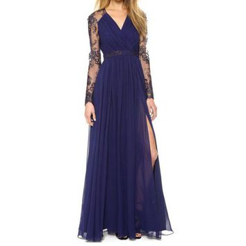 LMFC8S Sexy Lace Long Chiffon Evening Formal Party Cocktail Dress Bridesmaid Prom Gown