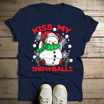 Men's Funny Christmas Shirt Kiss My Snowballs Christmas T-Shirt Snowman Shirt Offensive Christmas Shirt