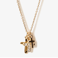 Rhinestone Cross Charms Necklace