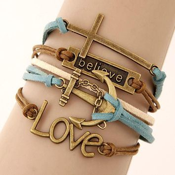 Multi 5 Layer Blue/Brown Believe, Anchor, Cross, Love Charms Wrap Bracelet Faux Brown Leather/Suede