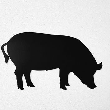 Pig Silhouette Metal Wall Art Country Rustic Home Decor