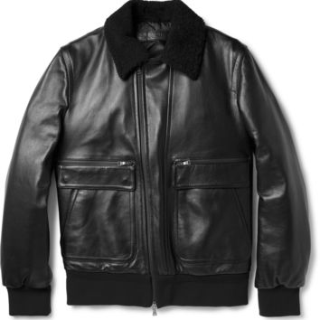 Neil Barrett - Shearling-Collar Leather Aviator Jacket | MR PORTER