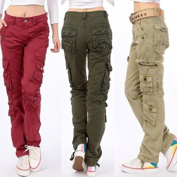 2017 New Women's cotton Cargo Pants Leisure Trousers more Pocket pants pants