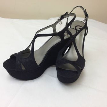 Guess G Saleena Black Synthetic Wedged Slingback Sandals Women's 8.5 M