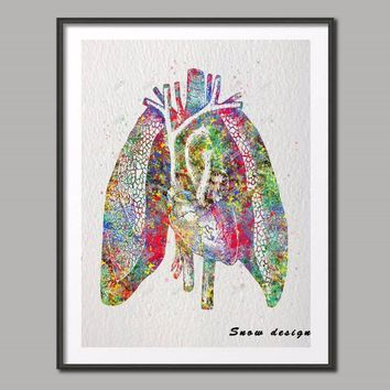 Original Watercolor Human Heart Lungs Anatomy wall art canvas painting Medical poster print Picture home decor Christmas gifts
