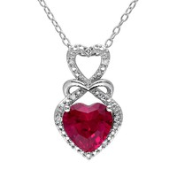 Lab-Created Ruby & Diamond Accent Sterling Silver Infinity & Heart Pendant Necklace (Red)