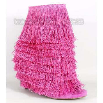 Nelly Bernal B Mambo Pink Fun Fringe Open Toe 4.75 Heel Ankle Boot In Stock Now