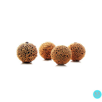 Four (4) 8mm round 22 Carat Gold Vermeil Granulation Ball Beads, Four Gold Vermeil Beads Handmade in Bali