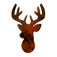 Deer Head With Antlers (Pictured In Cocoa) Wall Sign Wooden Sign Wooden Wall Art Cottage Chic Country Chic Rustic Americana Redneck Decor