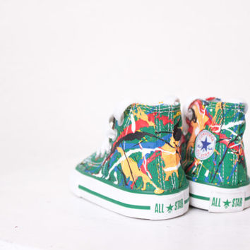 Baby Green High Top Splatter Painted Converse Sneakers Baby Size 2, Primary Colors