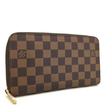 Authentic Louis Vuitton Damier Zippy Zip Around Organizer Long Wallet /mABC