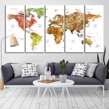 80017 - Large Wall Art World Map Canvas Print- Custom World Map Push Pin Wall Art- Custom World Map Canvas Poster Print- Personalized Wall Art