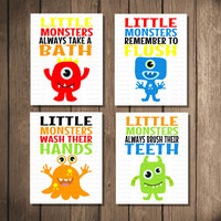 Printable Monsters Bathroom Art Print Set, Set of four , Kids Room Decor, Baby/Children Wall Art - Wash, Brush, Flush, Bath Bathroom