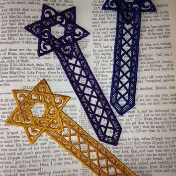 Lace Star of David, Machine Embroidered bookmark,  Embroidery Lace Bookmark, Star of David, Gold Bookmark