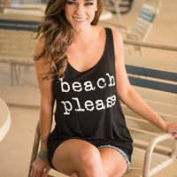 Beach Please Tank, Black