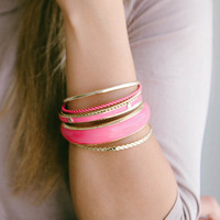 Fun Layered Bangle Set: Hot Pink