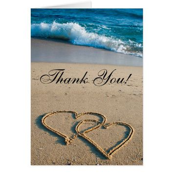 Wedding Thank You Card Heart on the Shore Beach
