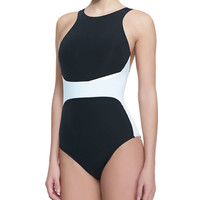 Women's Two-Tone High-Neck One-Piece Swimsuit - JETS by Jessika Allen - Black/White (AUS