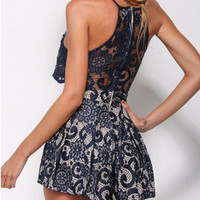 Navy Blue Floral Lace Spaghetti Strap Pleated Romper