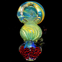 Triple Ball Glass Smoking Pipe - Heavy Inside Out Color Changing Spoon Bowl - Amazing Dichroic Swirl