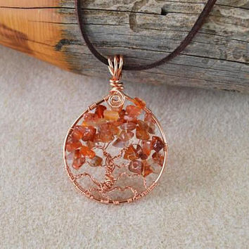 Tree of life pendant, 7th anniversary gift, copper tree of life, jasper jewelry copper necklace, celtic jewelry, boho necklace, gift for her