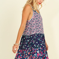 Vibrant Garden Dress - Navy Mix