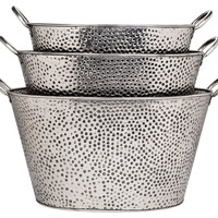 Oval Pewter Dotted Buckets w/Handle , Set of 3, Storage Baskets