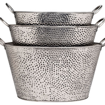 Oval Pewter Dotted Buckets w/Handle, Set of 3, Storage Baskets