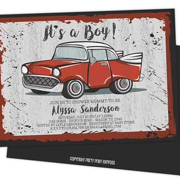 Vintage Red Car Baby Shower Invitations - Retro Red Truck Baby Shower Invitations -  Retro Boy Baby Shower Invites - Printed Invitations