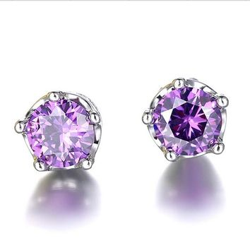 Fashion Classic Lady Purple Color Crystal CZ Rhinestone Jewelry Crown Stud Earrings For Women Girls Gift Broncos