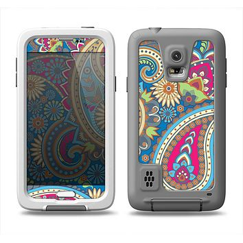 The Subtle Blue & Yellow Paisley Pattern Samsung Galaxy S5 LifeProof Fre Case Skin Set
