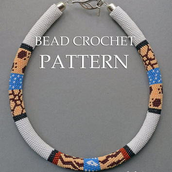 "Pattern for bead crochet necklace ""Safari"" / Bead crochet pattern / Crochet rope pattern / PATTERN ONLY"