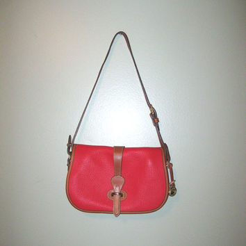 Vintage Dooney & Bourke Red Leather Purse / All Weather Leather / Leather Shoulder Bag