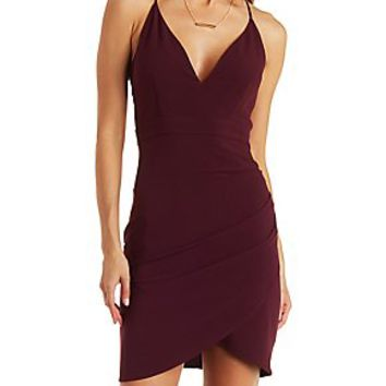 PLUNGING STRAPPY CAGED BACK ASYMMETRICAL DRESS