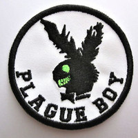 Plague Boy Patch Funny Zombie Play Bunny Iron/Sew on  Badge