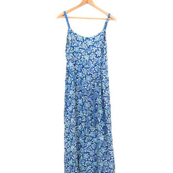 90s Floral Dress Seashell Button Front Frock Long Sun Dress Blue White Hippie Boho Slip Dress Vintage 1990s Grunge Sundress Small Medium