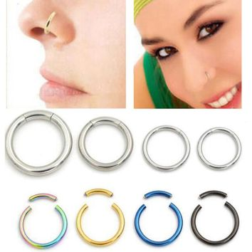 2Piece 18G 16G Nostril Nose Ring Unisex Lip Ear Nose Cartilage Septum Ring Hoop Stud Steel Segment Clip on Helix Tragus Earrings