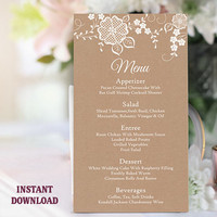 Printable Wedding Menu Template DIY Menu Card Template White Lace Menu Card Rustic Menu Printable Table Sign Instant Download Editable Menu