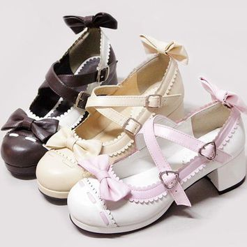 Janpanese school uniform shoes k-on punk  lolita shoes princess bow color block decoration single shoes cute round toe shoes