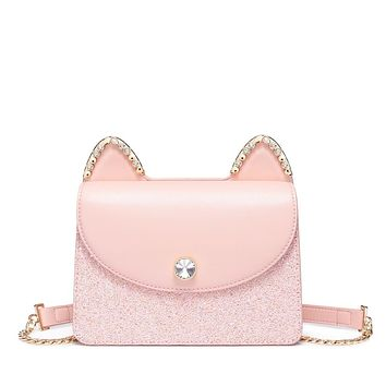 New Cat Ear Glitter PU Leather Messenger Crossbody Bag With Rhinestone Crystals