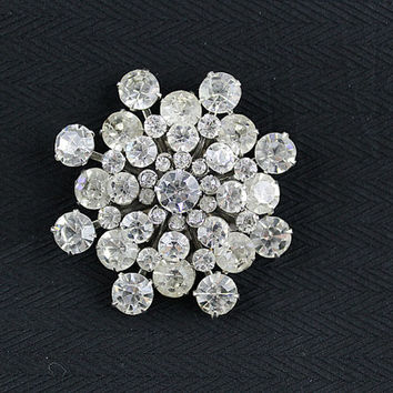 Vintage Clear Rhinestone Brooch from the 1930s, J205