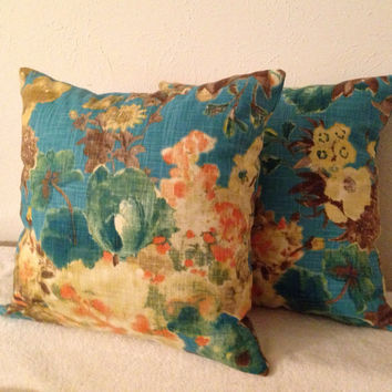 Decorative-Accent-Throw-Set of Two 18 inch Pillow Covers - Garden Odyssey-Lagoon-Free Domestic Shipping