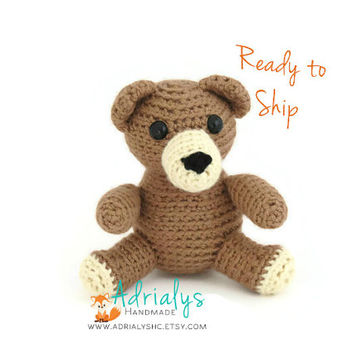 Crochet Bear- Small Bear- Crochet Animals- Teddy Bear, Stuffed Bear, Woodland Animals, Forest Animals, Toy Plush- Ready to Ship