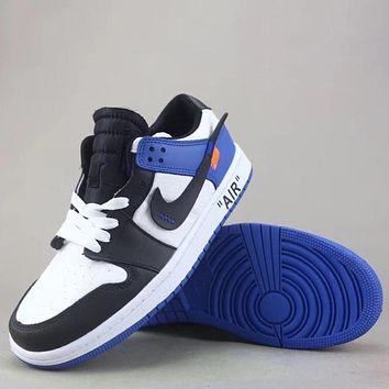 Trendsetter Off White X Air Jordan 1 Retro Fashion Casual  Low-Top Old Skool Shoes