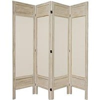 Oriental Furniture 5 1/2 ft. Tall Solid Frame Fabric Room Divider - 4 Panel - Burnt White