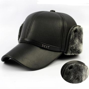 Trendy Winter Jacket HT647 Warm Winter Leather Fur Baseball Cap Ear Protect Snapback Hat for Women High Quality Winter Hats for Men Solid n Hat AT_92_12