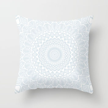 Minimal Minimalistic Light Cool Gray Mandala Throw Pillow by AEJ Design